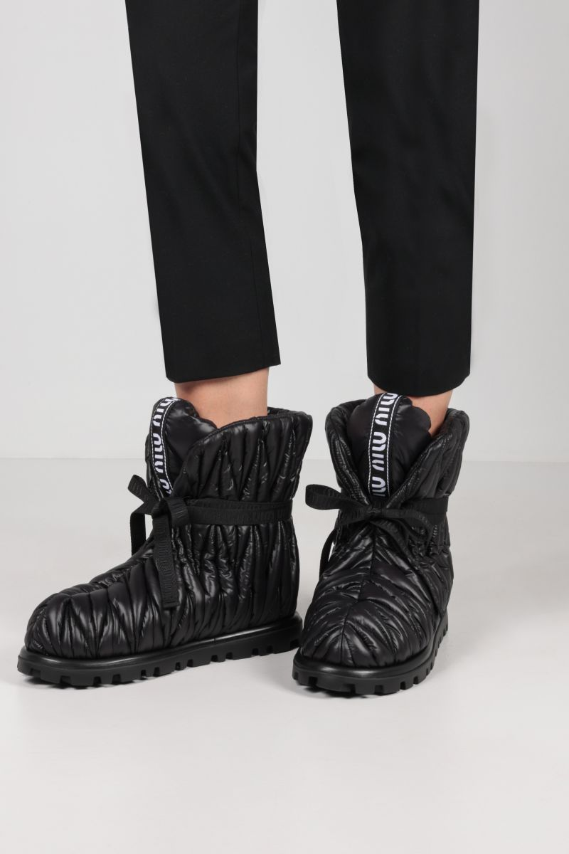 MIU MIU: quilted Re-Nylon ankle boots Color Black_2