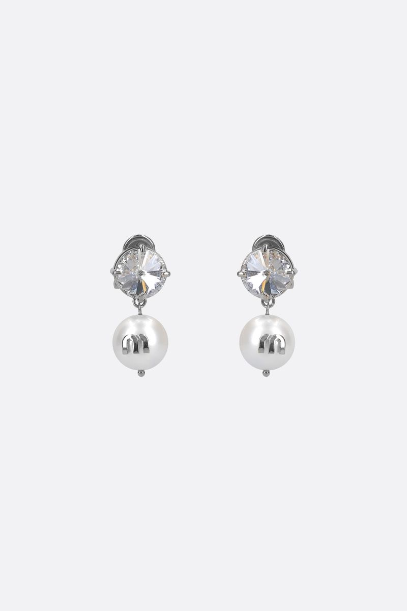 MIU MIU: Solitaire crystal and resin pearl-embellished brass earrings Color Multicolor_1