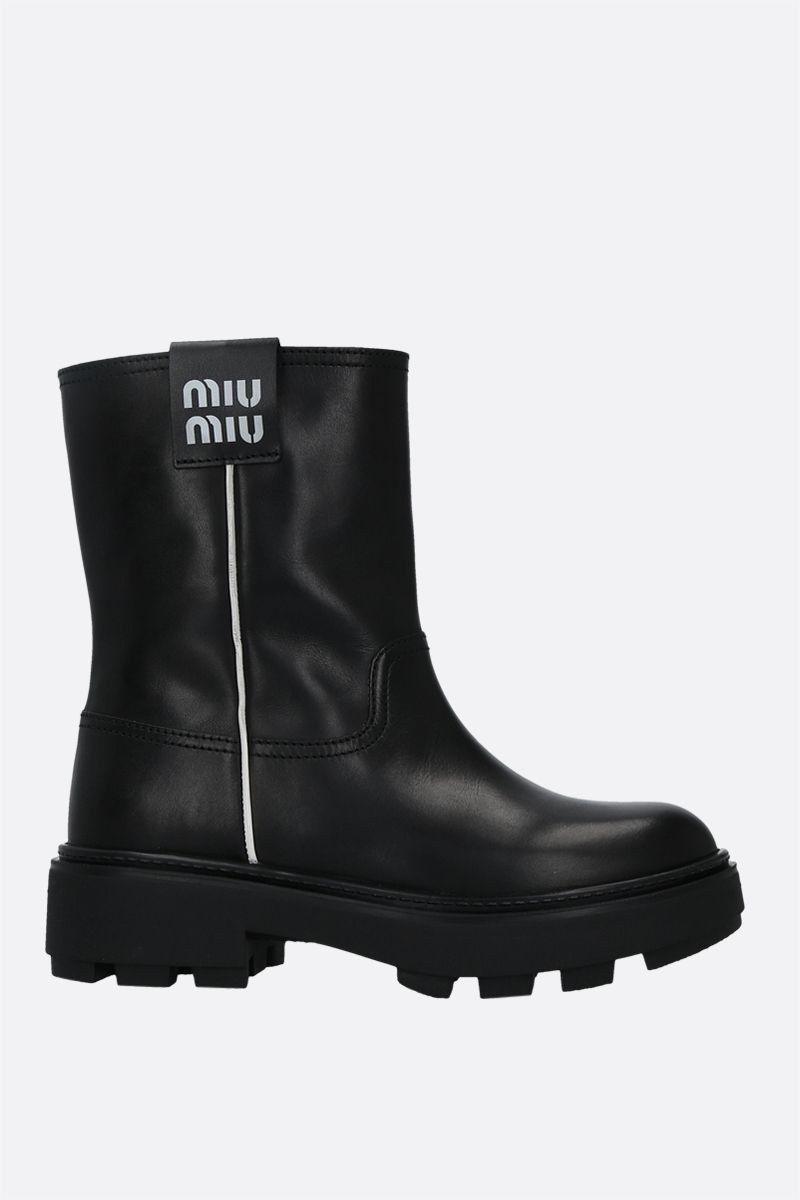 MIU MIU: logo-detailed smooth leather pull-on boots Color Black_1