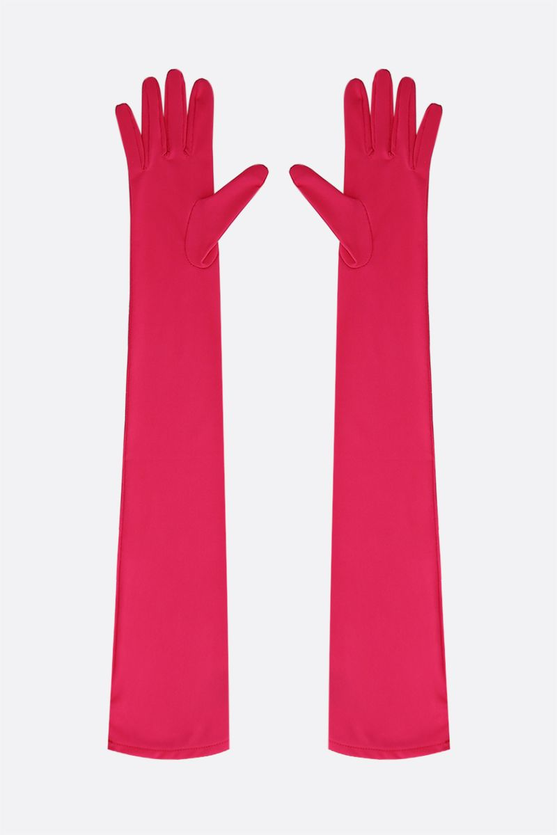 MM6: guanti lunghi in jersey con logo 6 Colore Pink_2