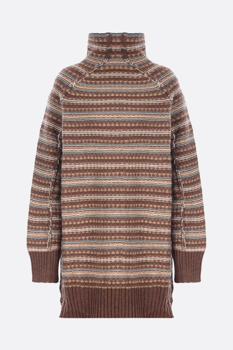MM6: pullover oversize Reversed in misto lana Colore Brown_1