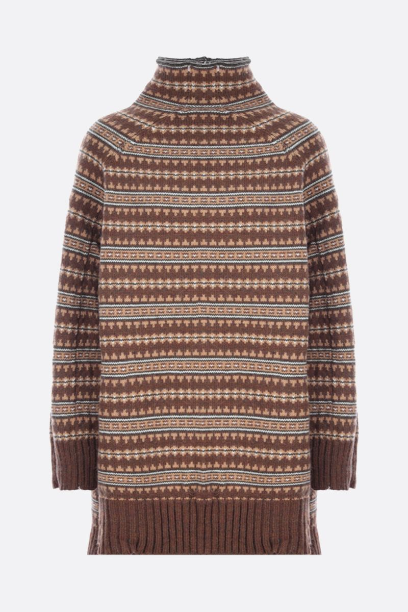 MM6: pullover oversize Reversed in misto lana Colore Brown_2