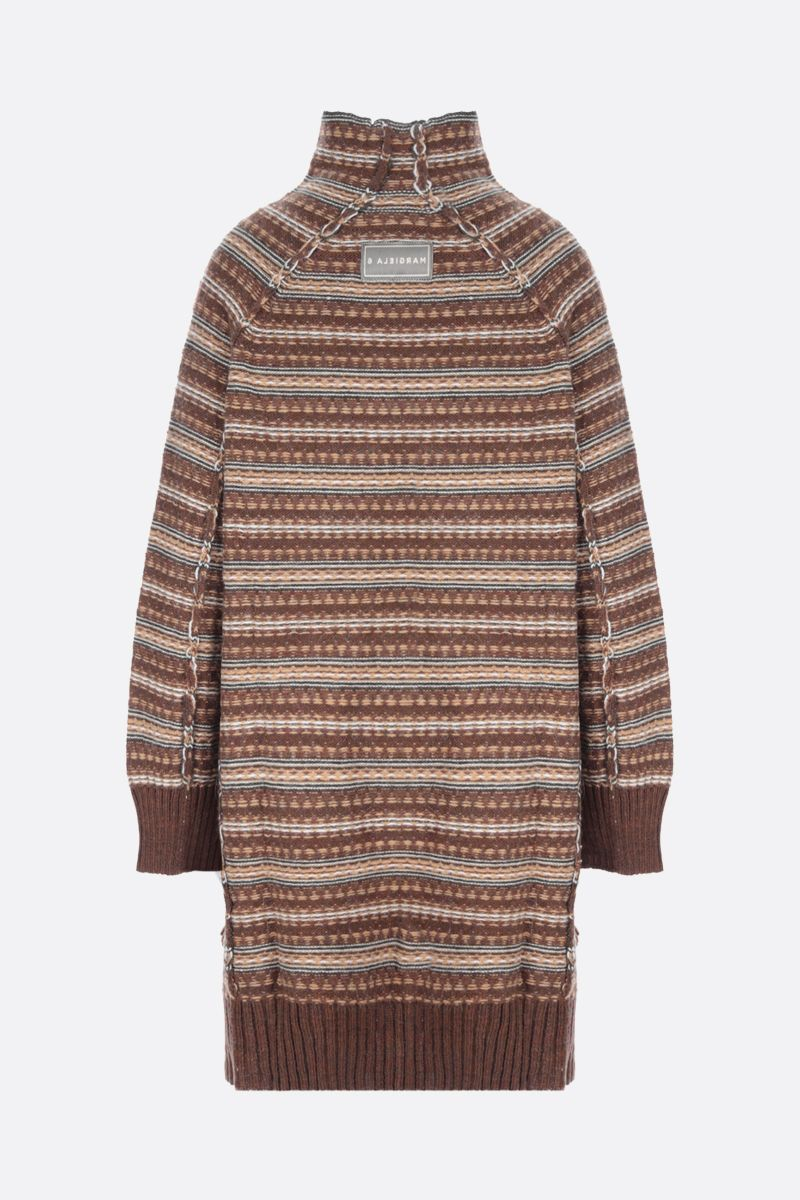 MM6: pullover oversize Reversed in misto lana Colore Brown_3