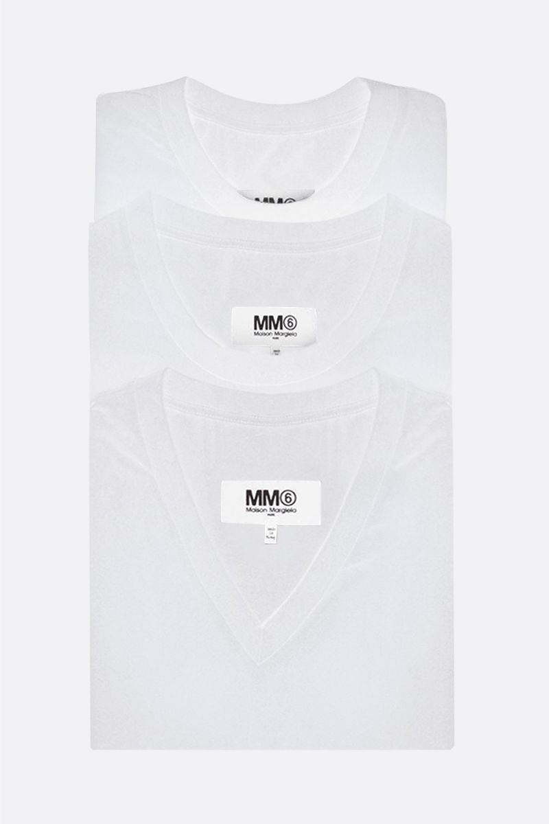 MM6: pack 3 t-shirt in jersey di cotone Colore White_1