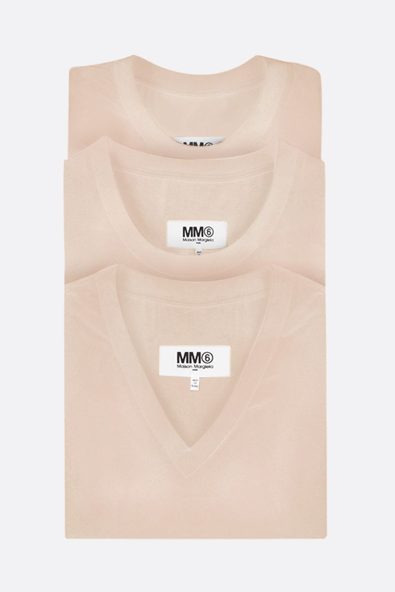 MM6: pack 3 t-shirt in jersey di cotone Colore Neutral_1