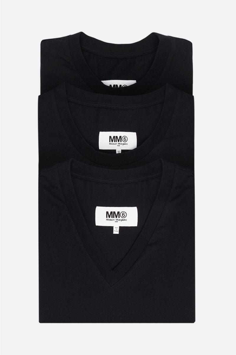 MM6: pack 3 t-shirt in jersey di cotone Colore Black_1