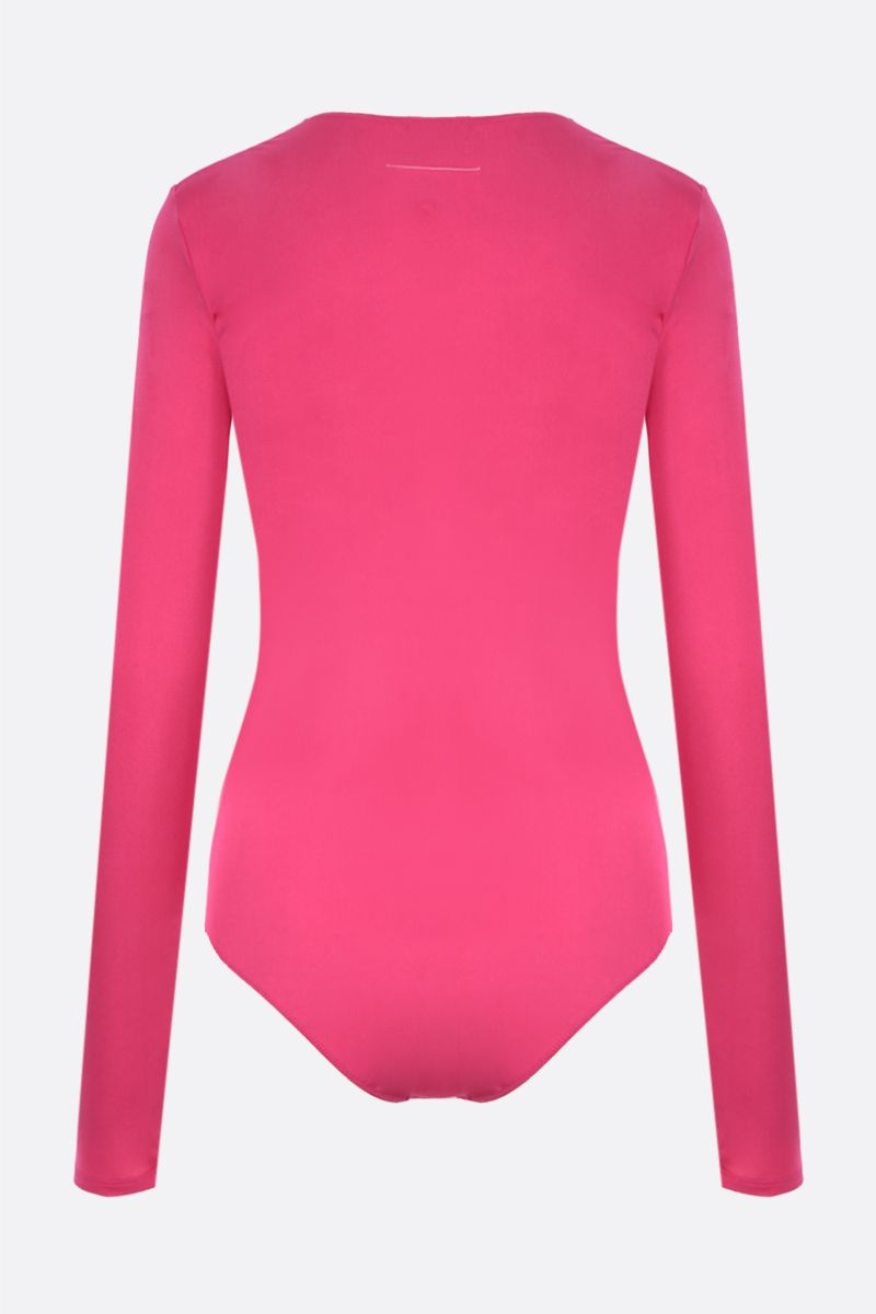 MM6: body in jersey di lycra con logo Colore Pink_2