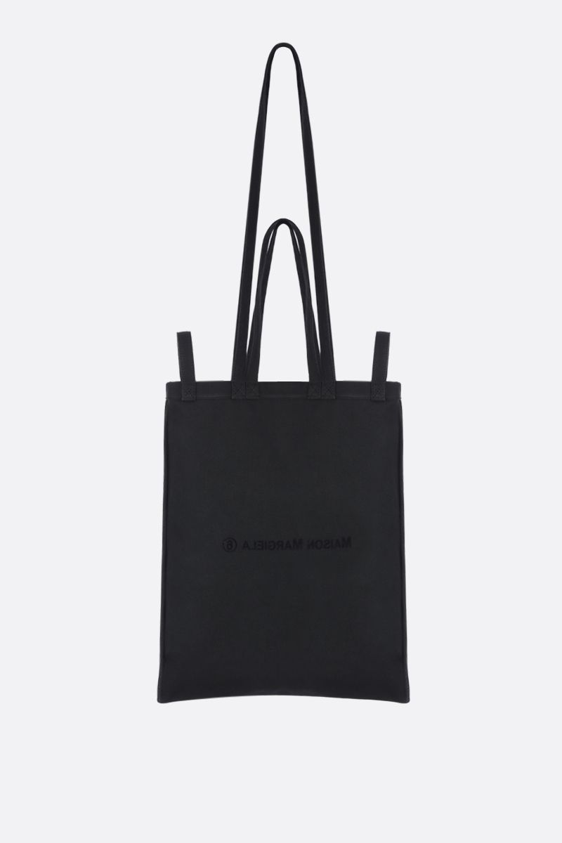MM6: borsa shopping in canvas stampa logo Colore Black_1