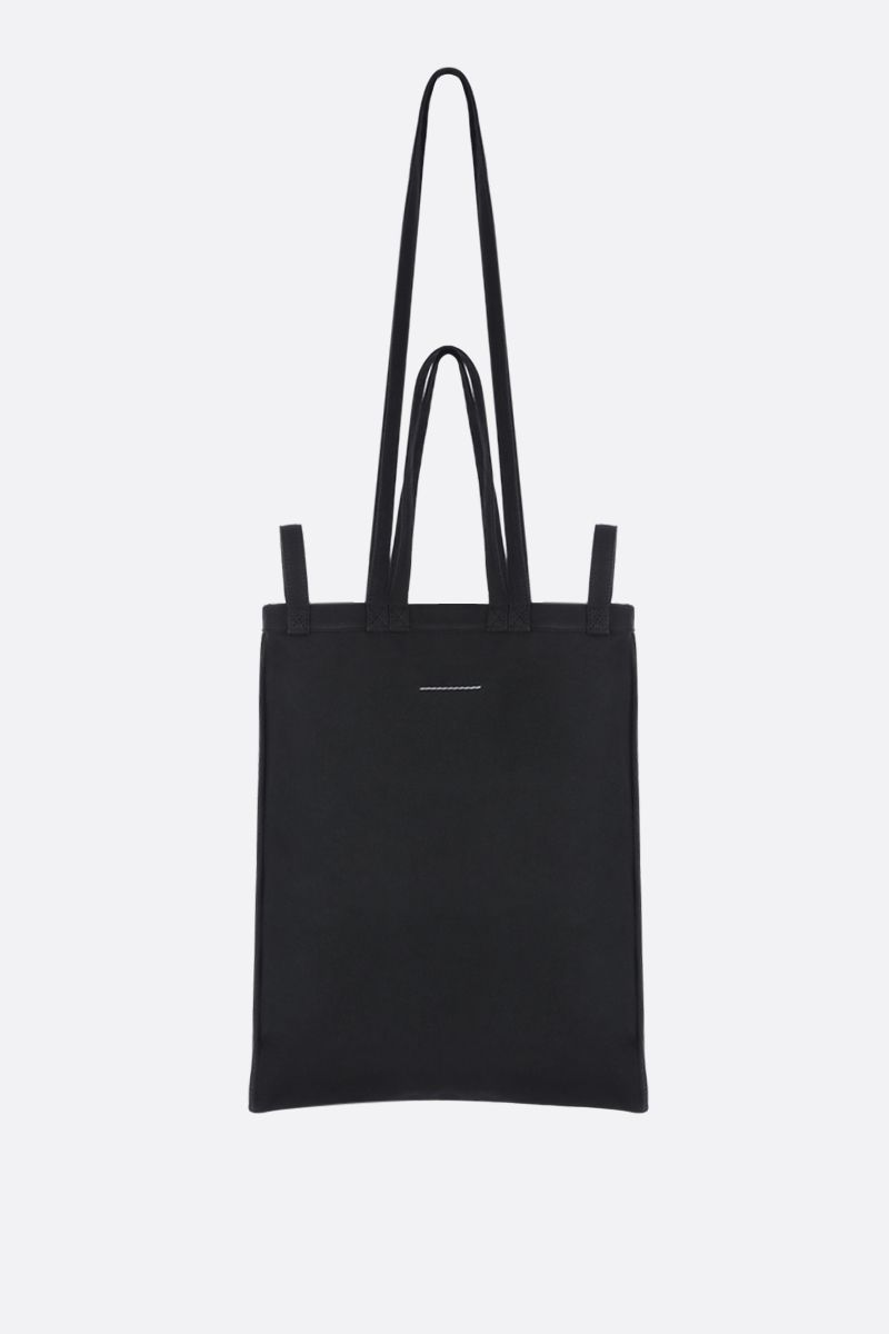 MM6: borsa shopping in canvas stampa logo Colore Black_3