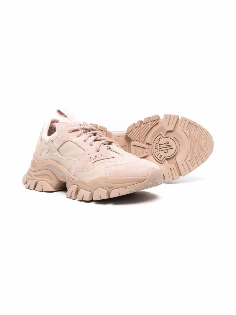 MONCLER KIDS: Leave No Trace leather and suede sneakers Color Neutral_2