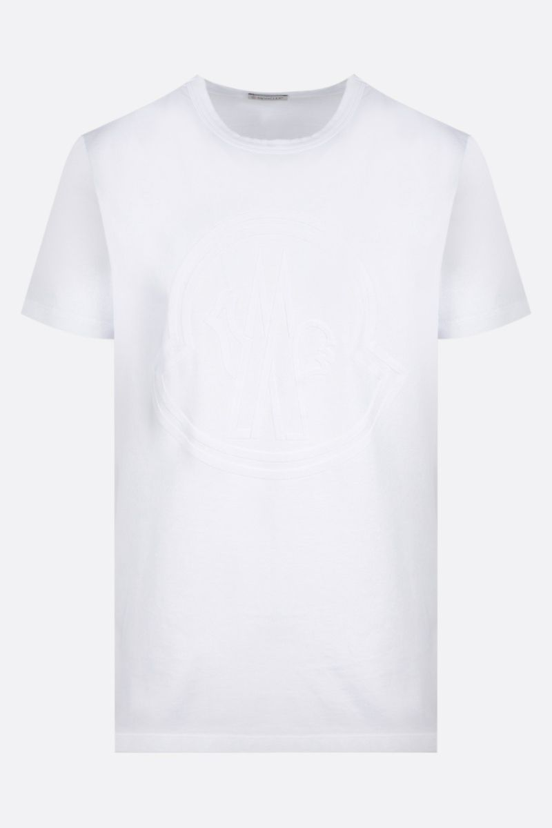 MONCLER: t-shirt in cotone stampa logo Colore White_1