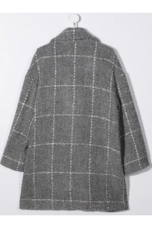 MONNALISA: double-breasted check wool blend coat Color Multicolor_2