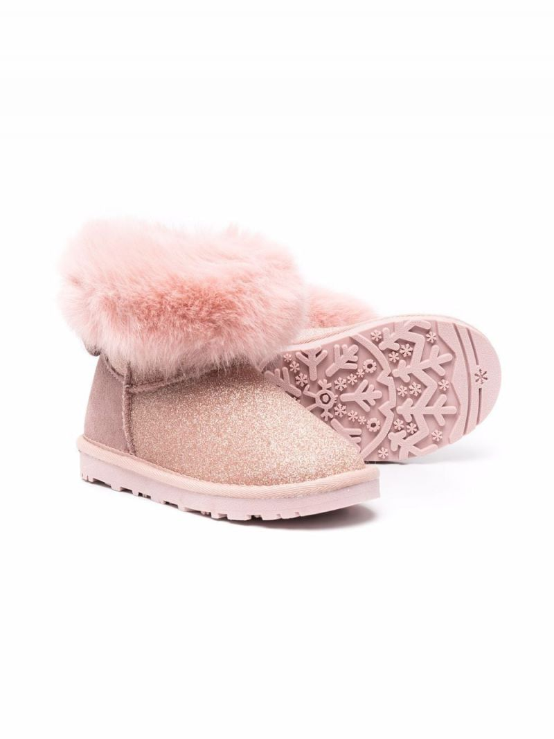 MONNALISA: glitter fabric ankle boots Color Pink_2