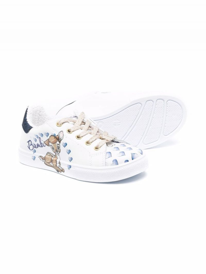 MONNALISA: Bambi smooth leather sneakers Color White_2
