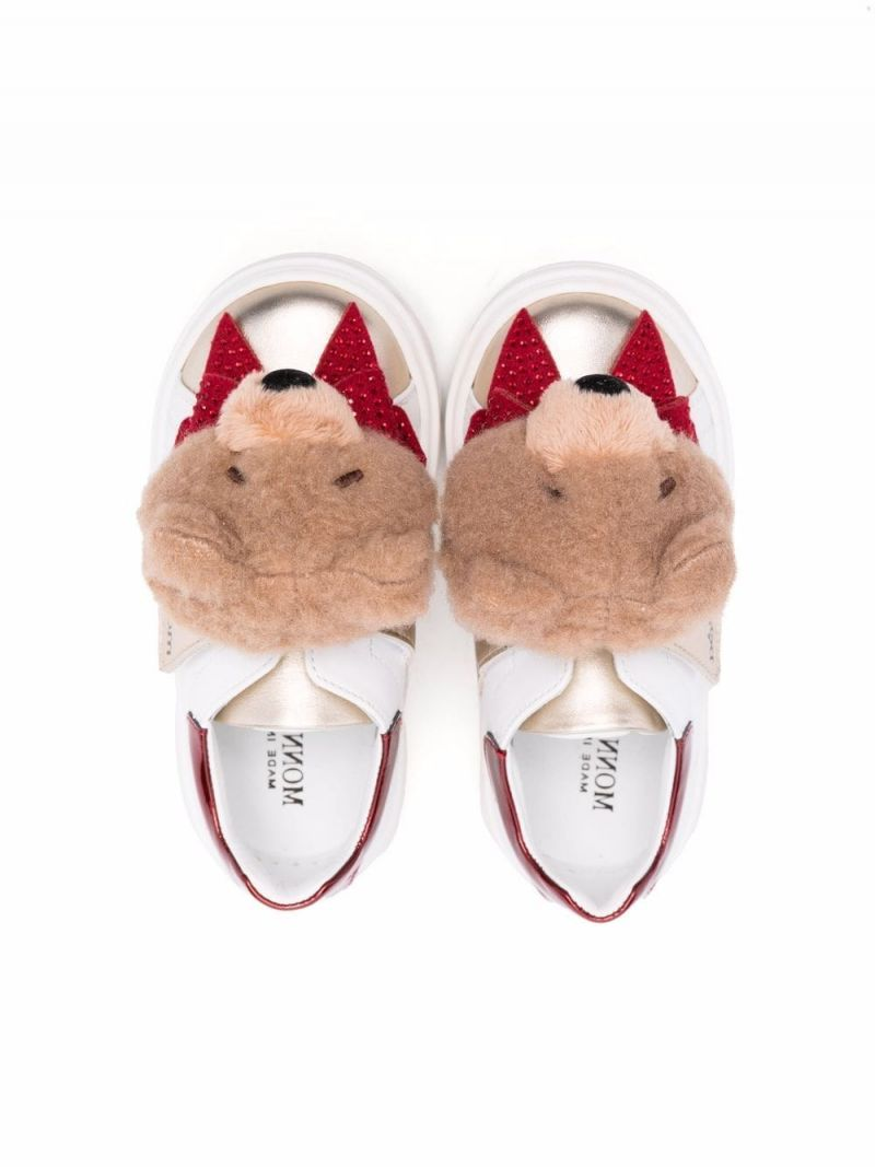 MONNALISA: Glitter Teddy smooth leather sneakers Color Multicolor_2