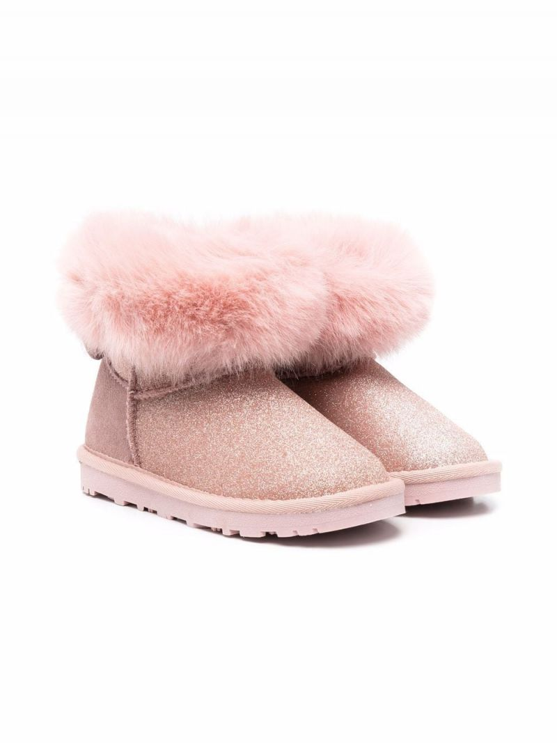 MONNALISA: glitter fabric ankle boots Color Pink_1