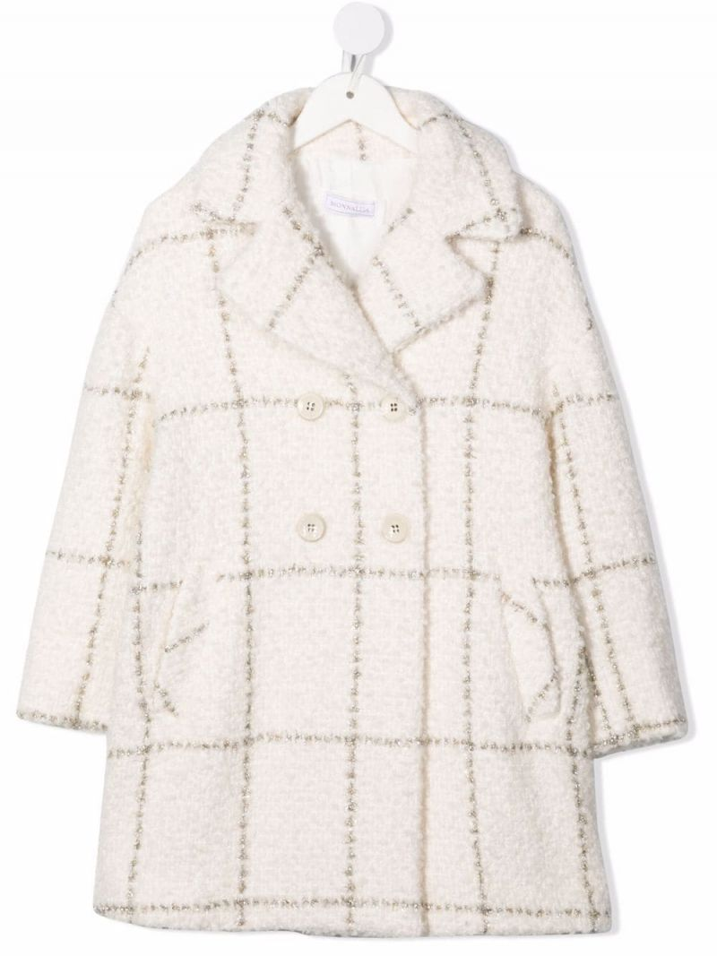MONNALISA: double-breasted check wool blend coat Color Multicolor_1