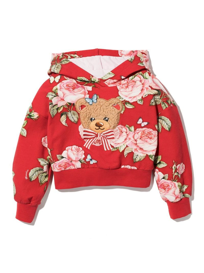 MONNALISA: floral print stretch cotton hoodie Color Red_1