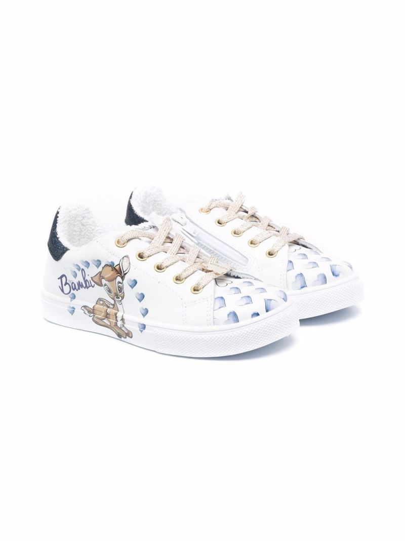 MONNALISA: Bambi smooth leather sneakers Color White_1