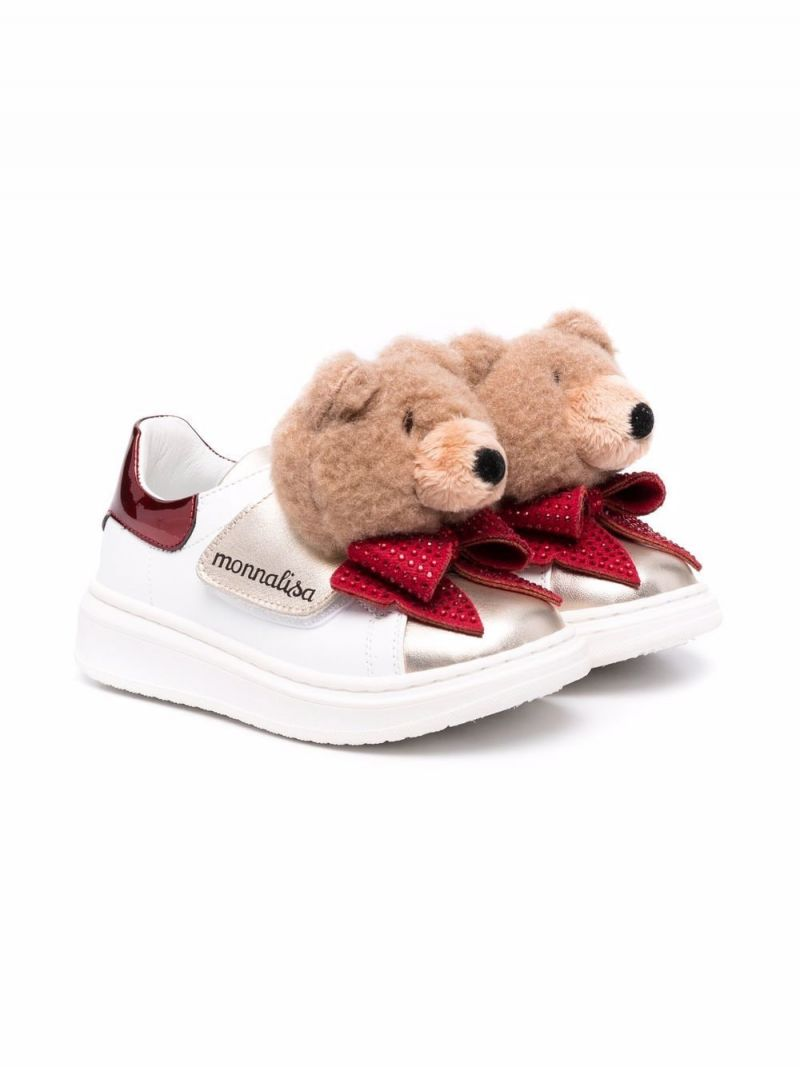MONNALISA: Glitter Teddy smooth leather sneakers Color Multicolor_1