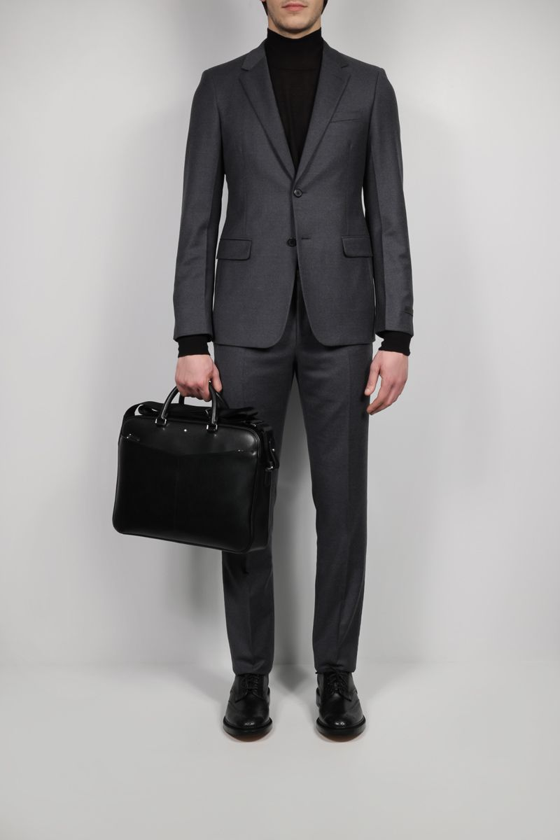 MONTBLANC: Montblanc Sartorial small textured leather business bag Color Black_2