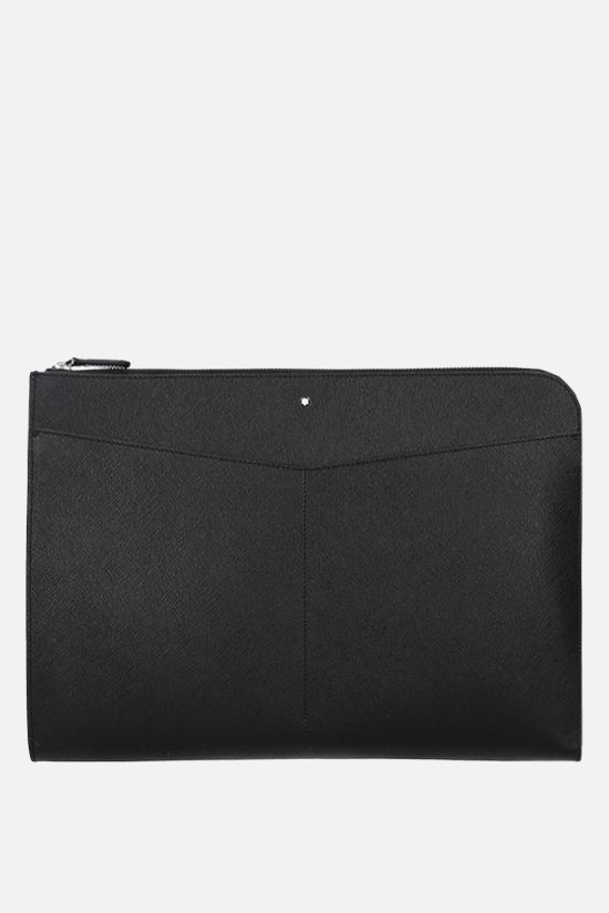 MONTBLANC: Montblanc Sartorial textured leather clutch Color Black_1