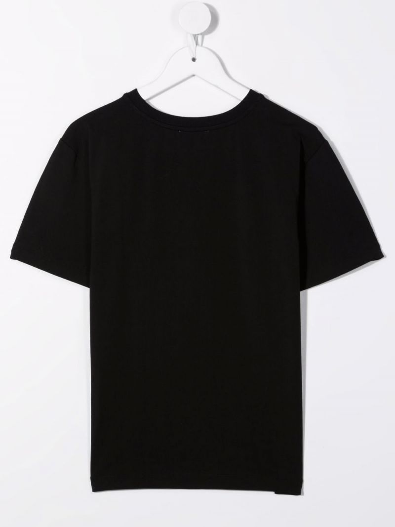 MOSCHINO KIDS: Double Question Mark print stretch cotton t-shirt Color Black_2