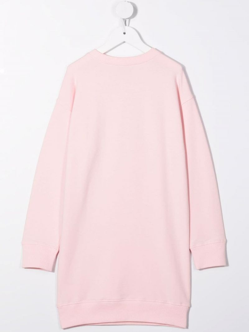 MOSCHINO KIDS: Moschino Couture! stretch cotton dress Color Pink_2