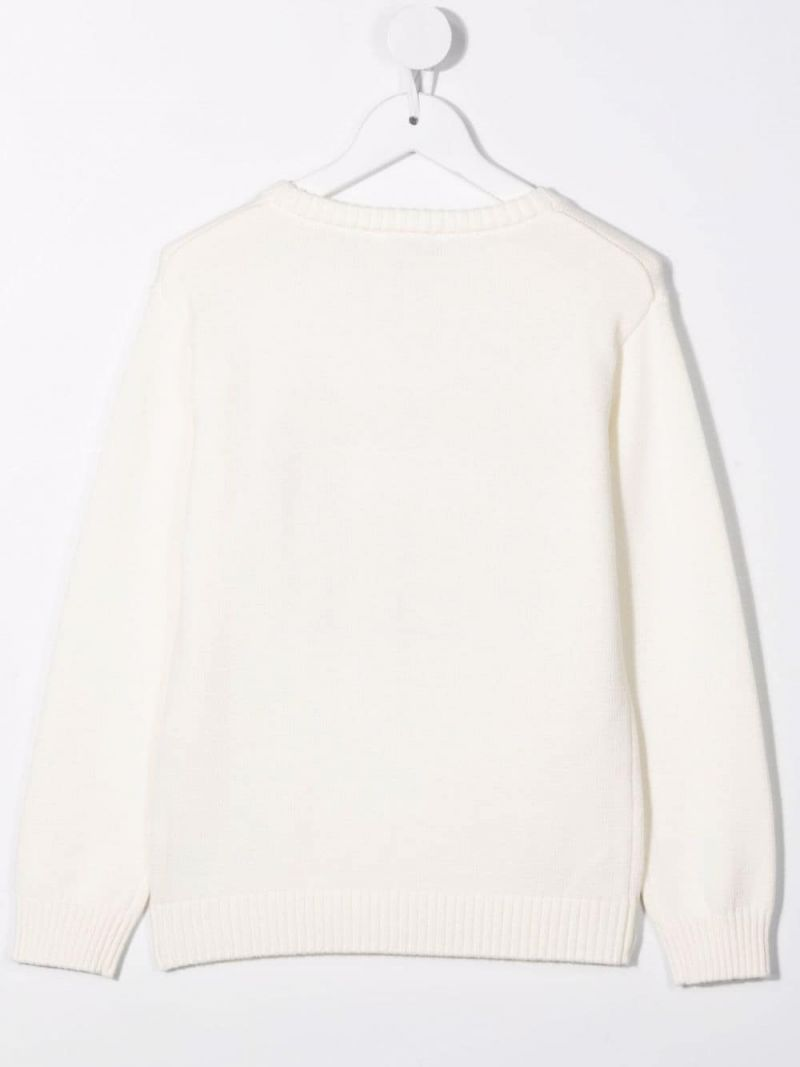 MOSCHINO KIDS: Teddy Bear wool cotton blend pullover Color White_2