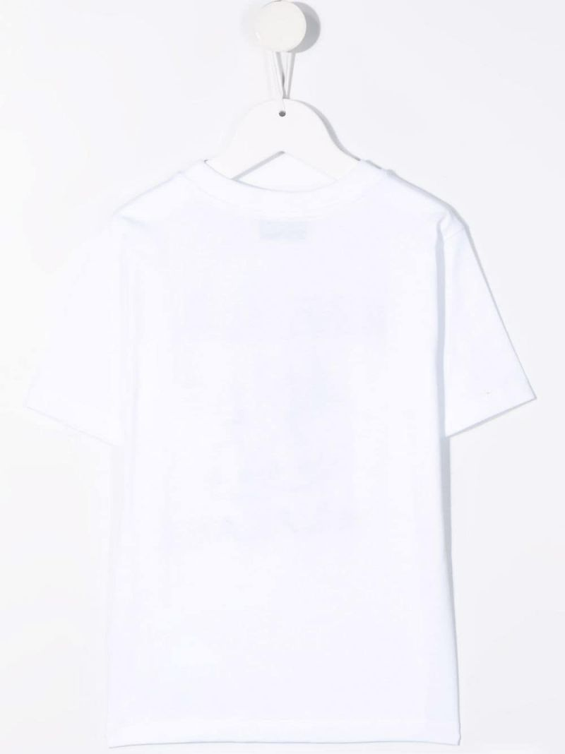 MOSCHINO KIDS: Double Question Mark print cotton t-shirt Color White_2