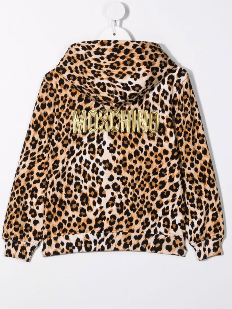 MOSCHINO KIDS: leopard print stretch cotton hoodie Color Animalier_2