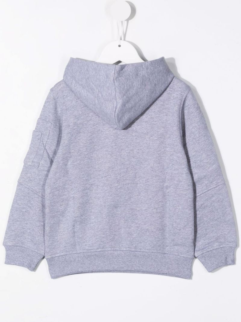 MOSCHINO KIDS: Double Question Mark print cotton hoodie Color Grey_2