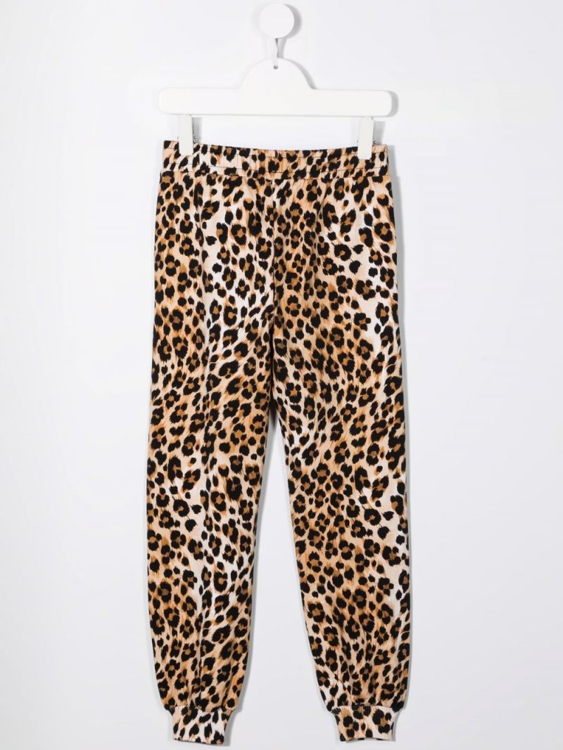 MOSCHINO KIDS: leopard print stretch cotton joggers Color Animalier_2