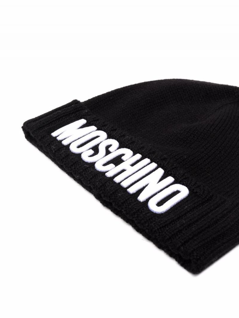 MOSCHINO KIDS: logo patch wool blend beanie Color Black_2