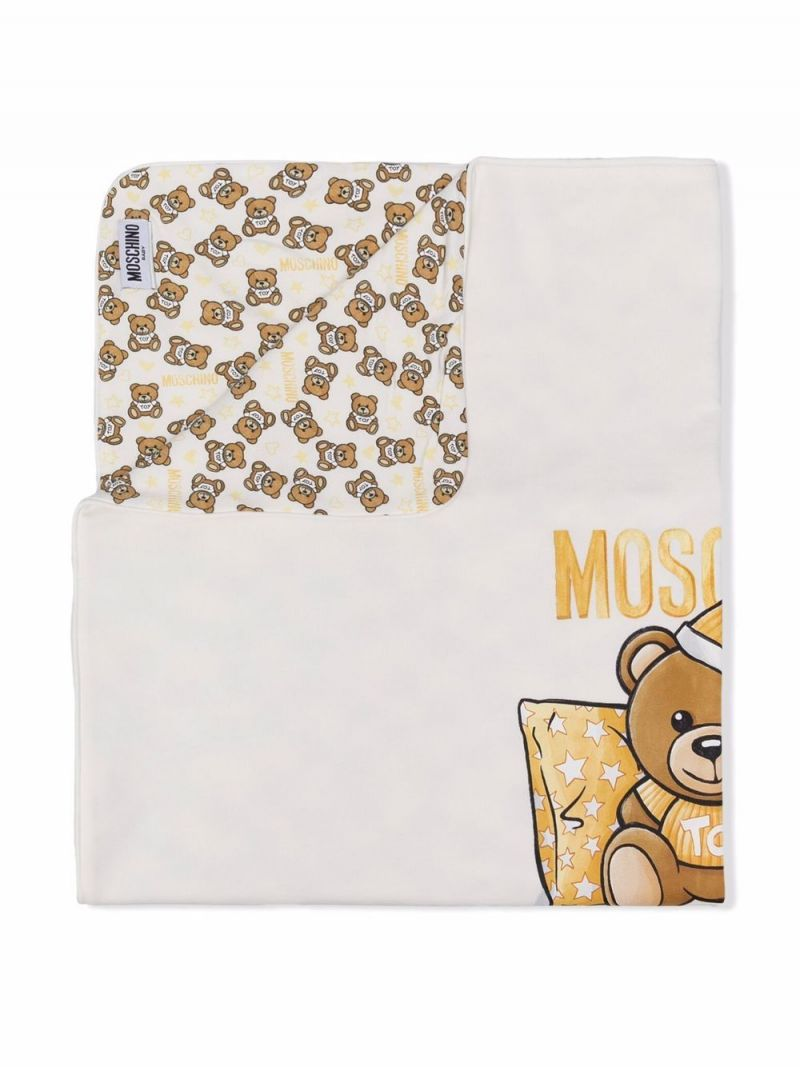 MOSCHINO KIDS: Teddy Bear print stretch cotton blanket Color White_2