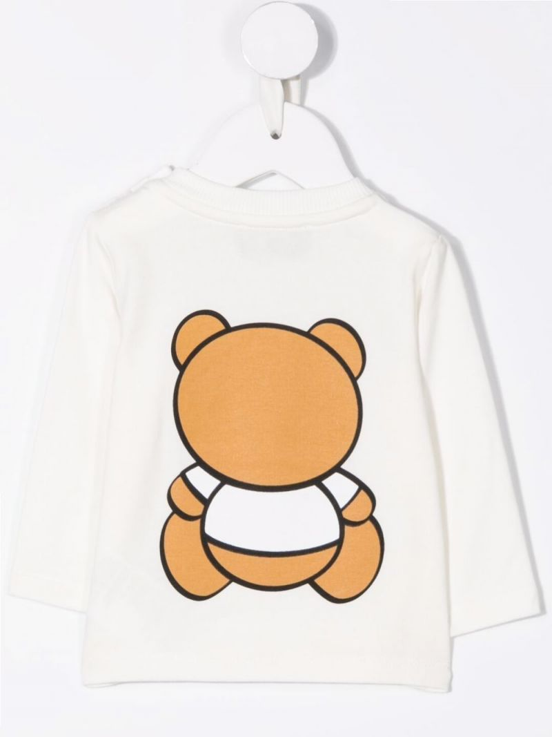 MOSCHINO KIDS: Toy Teddy Bear long-sleeved stretch cotton t-shirt Color Grey_2