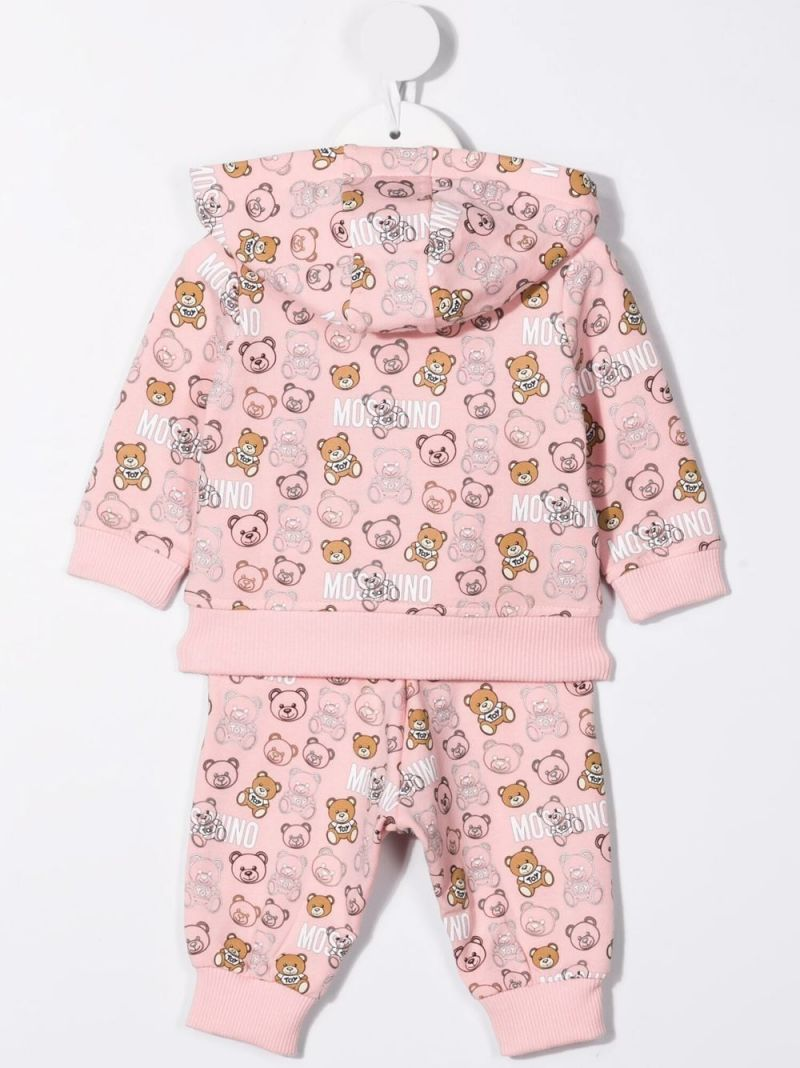 MOSCHINO KIDS: Teddy Bear print stretch cotton tracksuit Color Pink_2