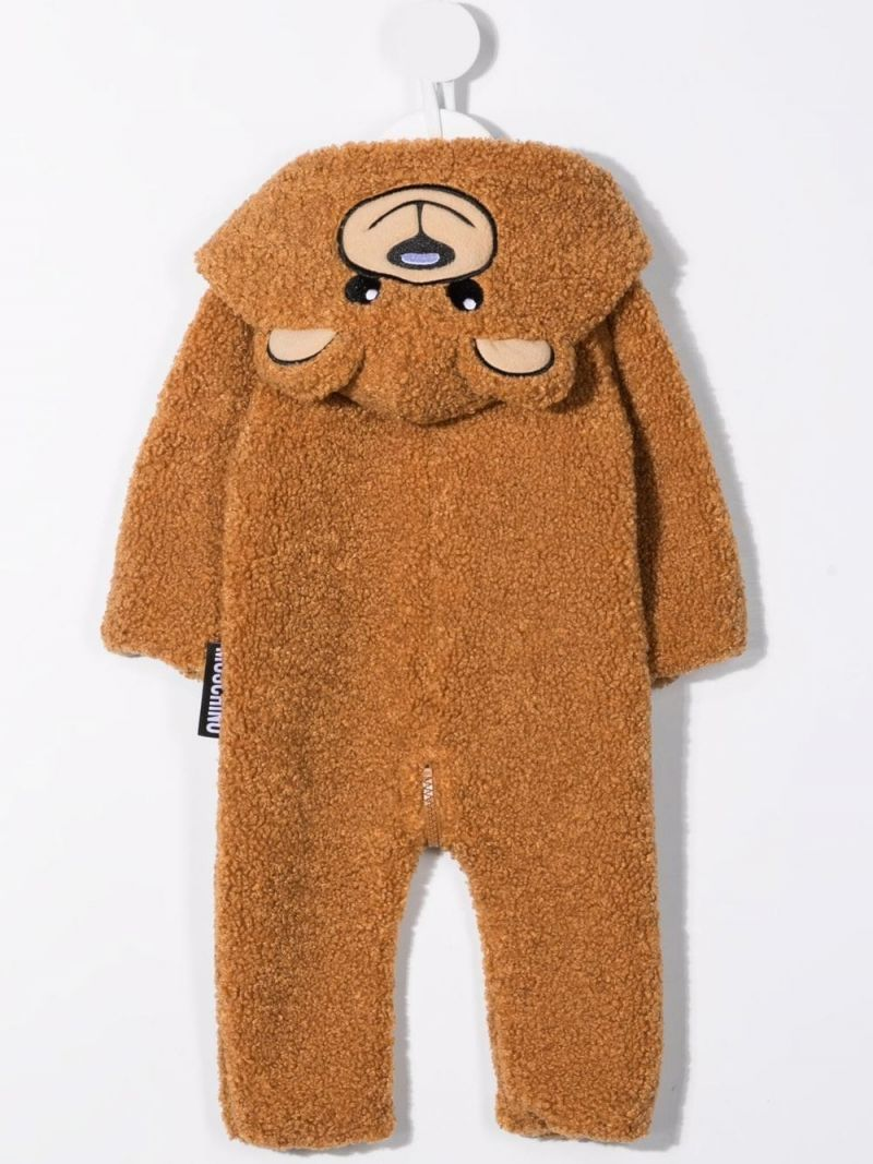 MOSCHINO KIDS: Teddy Bear hooded faux fur babygrow Color Brown_2