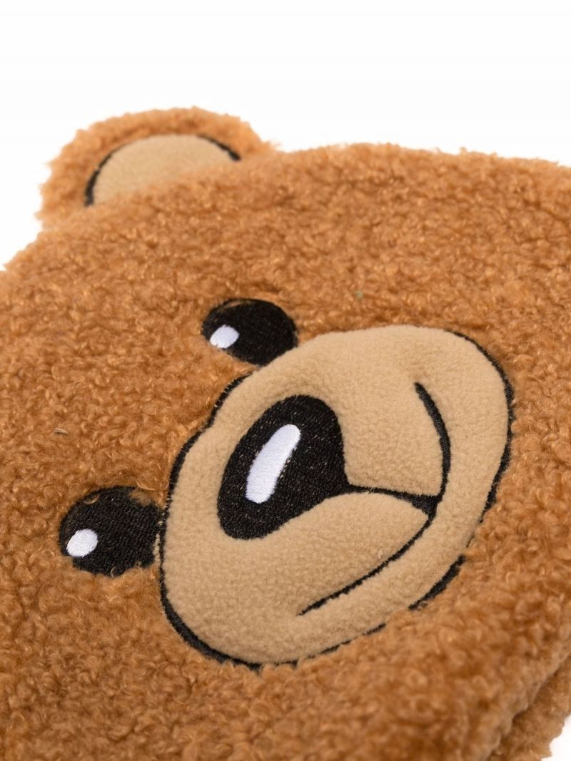 MOSCHINO KIDS: Teddy Bear beanie and slipper set in faux fur Color Brown_2