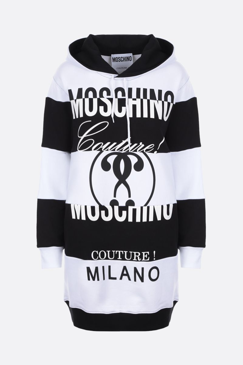 MOSCHINO: logo print jersey patchwork short dress Color White_1