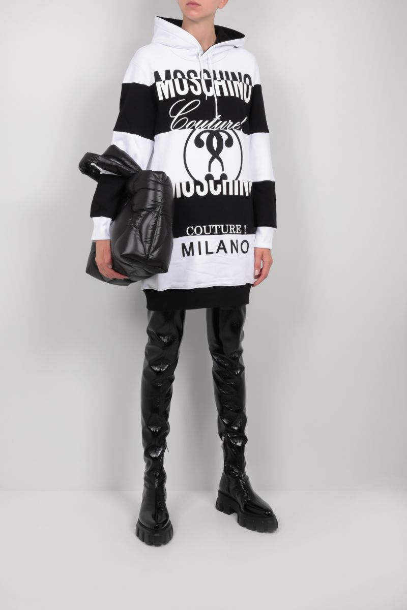 MOSCHINO: logo print jersey patchwork short dress Color White_2