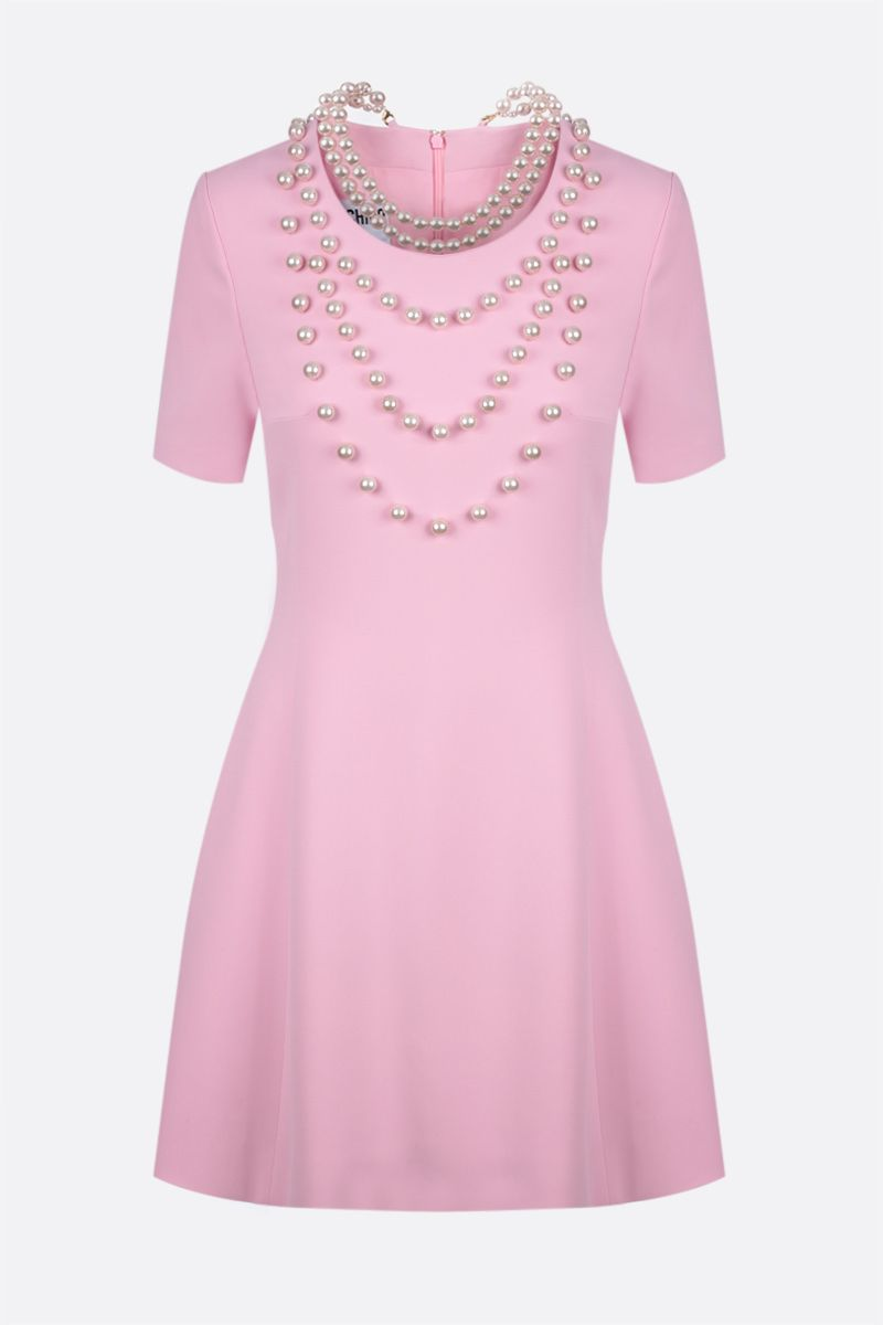 MOSCHINO: pearl-detailed stretch cady short dress Color Pink_1