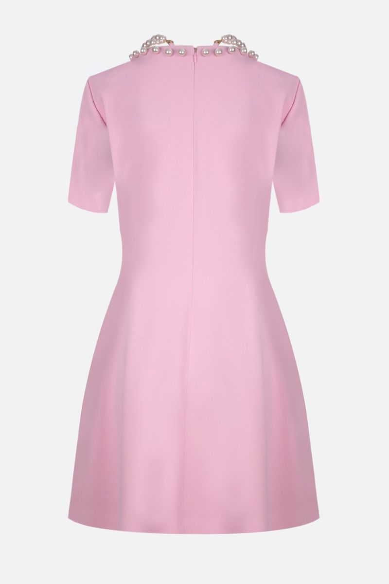 MOSCHINO: pearl-detailed stretch cady short dress Color Pink_2