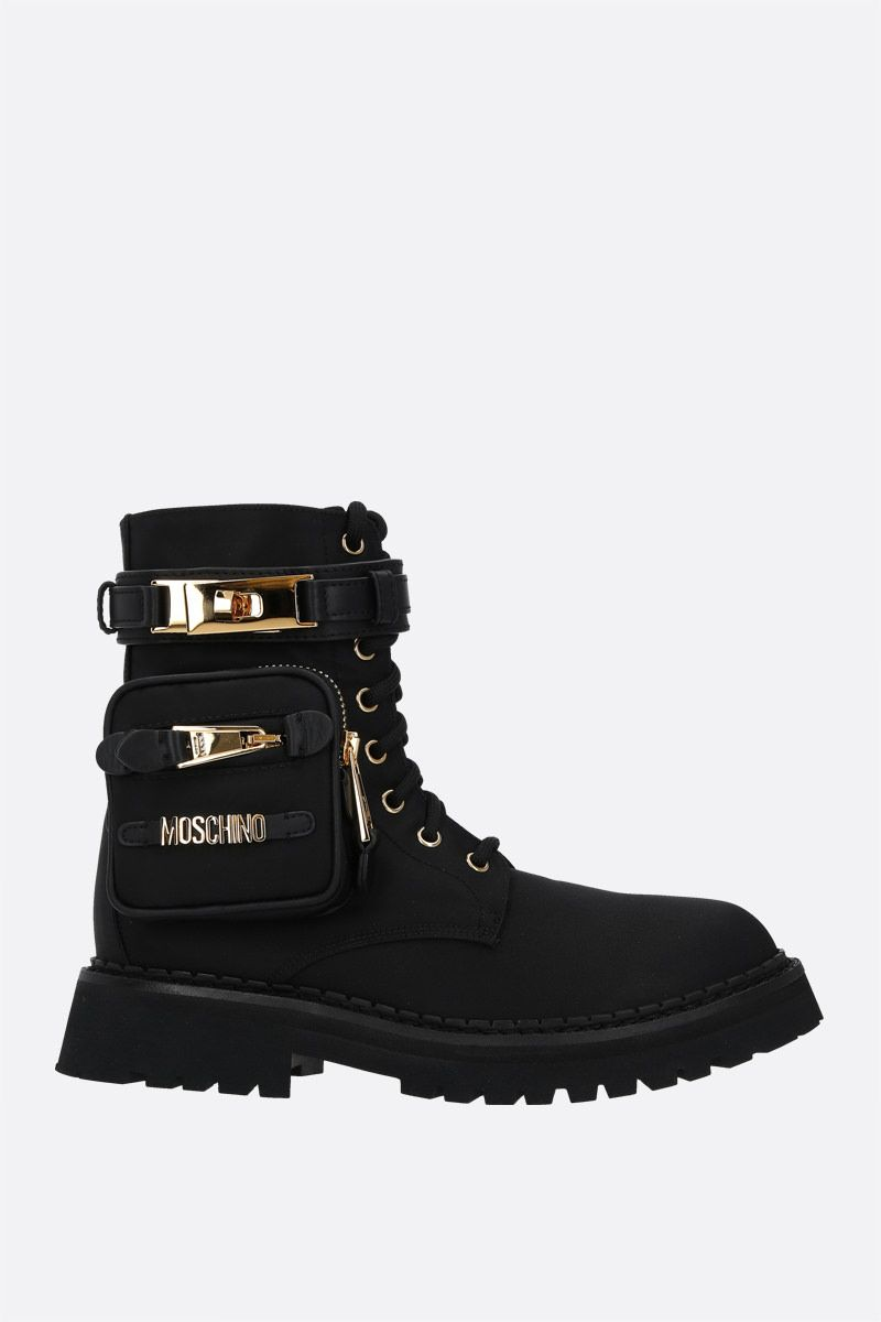 MOSCHINO: pocket-detailed nylon combat boots Color Black_1