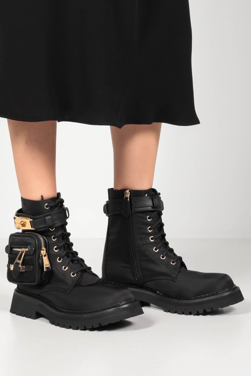 MOSCHINO: pocket-detailed nylon combat boots Color Black_2