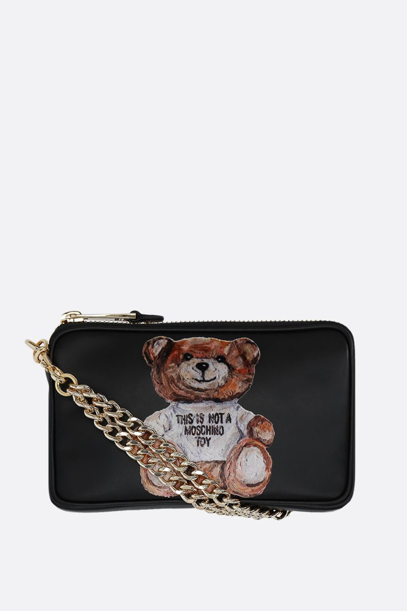 MOSCHINO: Painting Teddy Bear smooth leather shoulder bag Color Black_1