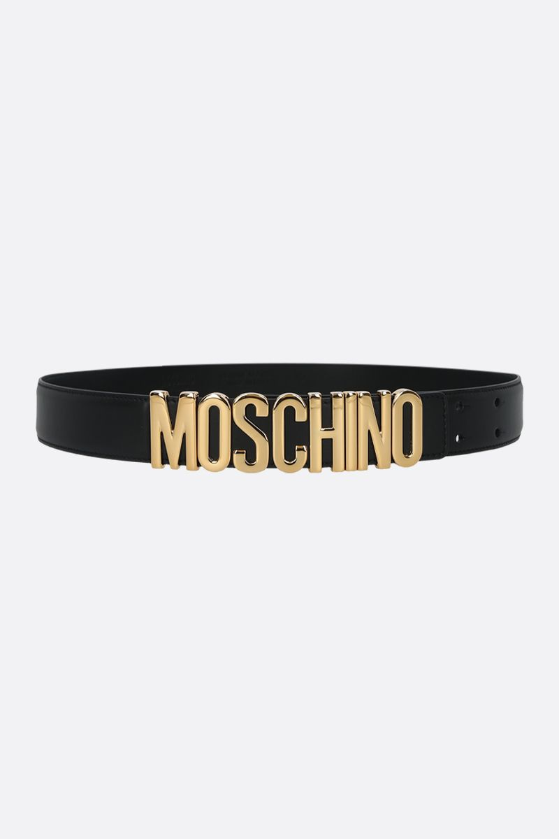 MOSCHINO: lettering logo-detailed smooth leather belt Color Black_1