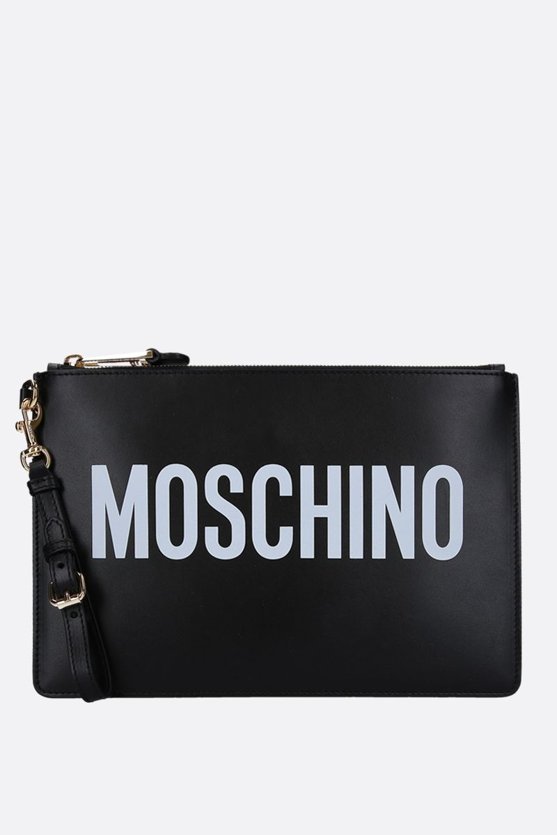 MOSCHINO: logo print smooth leather clutch Color Black_1