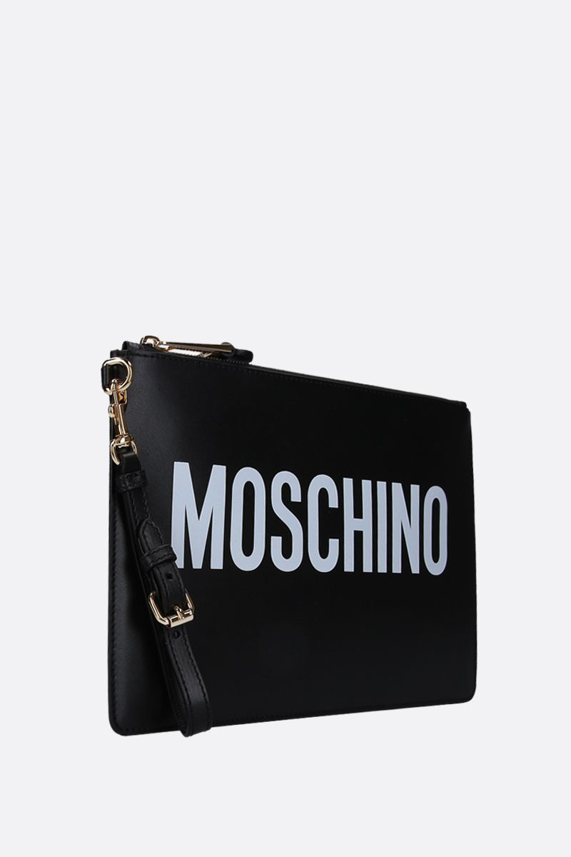 MOSCHINO: logo print smooth leather clutch Color Black_2