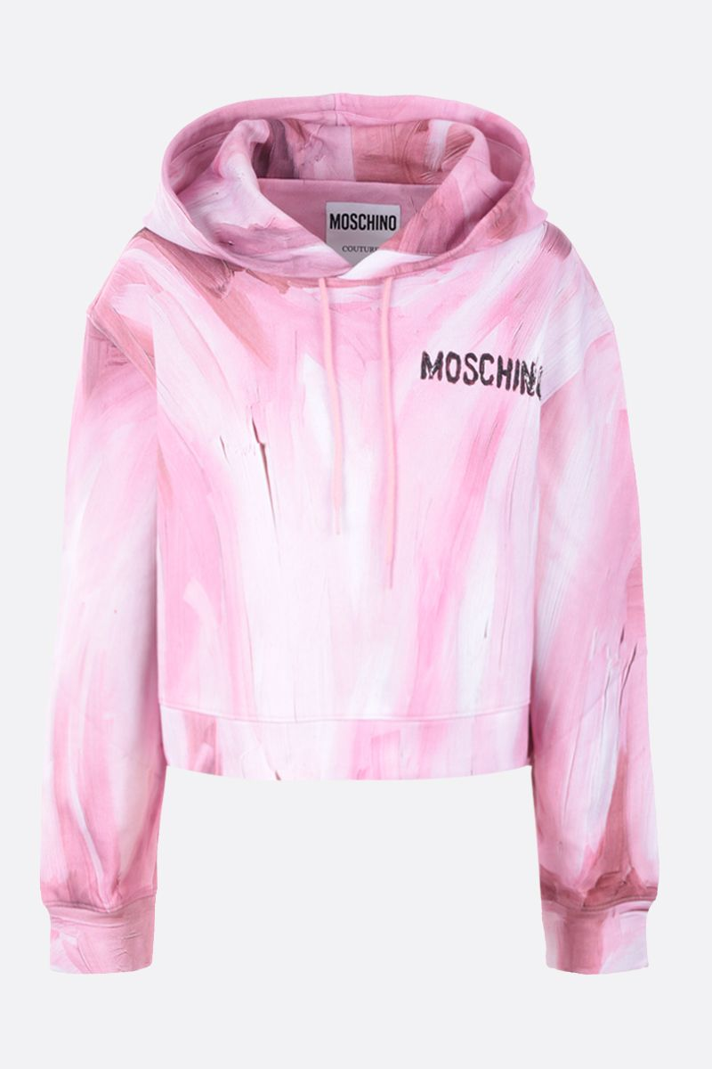 MOSCHINO: felpa cropped Painting in cotone Colore Rosa_1